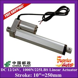 Wholesale Linear Actuator 24v Dc Motor - Free Delivery DC 12V 24V 10inch 250mm linear actuator with mounting brackets, 1000N 100kgs load linear actuators for window