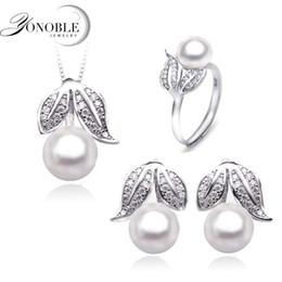 Canada Gros-naturel perle bijoux femmes bijoux de mariage définit l'argent, belle perle véritable ensembles de bijoux 925 pour la petite amie cadeau d'anniversaire blanc Offre