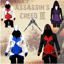 Wholesale Assassins Creed Jacket Conner - Assassins Creed Cosplay Costume Jacket S-5XL Mans Conner Kenway Halloween Hoodie Coat Assurance 3 anime Overcoat Free Shipping