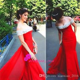 Wholesale Tarik Ediz Evening Gowns - Tarik Ediz 2016 Mermaid Prom Dresses with Long Red Chiffon Train Off Shoulder Beaded Bateau Neck Evening Wear Red Carpet Party Formal Gowns