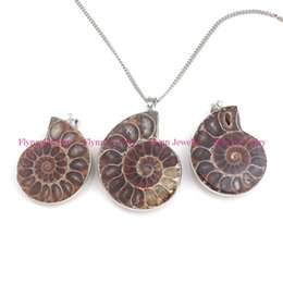 Wholesale Silver Ammonite - 2016 Hot Charm Beautiful Silver Plated Bordure Different Half Natural Ammonite Conch Fossil Pendant Amulet European Retro Jewelry 10Pcs