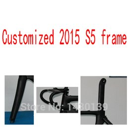Wholesale Carbon Frame Headset Forks Seatpost - 2015 Newest S5 700C Road bike UD full carbon fibre bicycle frames with handlebar stem fork seatpost headsets BBright Free ship