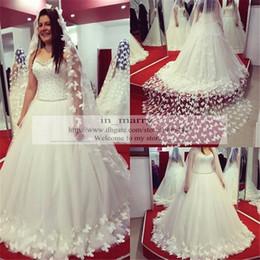 Wholesale Butterfly Lace Wedding Veil - Design 3D Butterfly Wedding Dresses 2016 A Line Pearls Corset Neck Plus Size White Ivory Bridal Gowns with 3M Veil Vestio De Novia