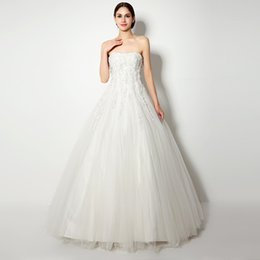 Wholesale Stapless Wedding Gowns - Real Photo In Stock Sleeveless Stapless Wedding Dresses Backless Ball Gown Robe De Mariage Beading And Crystal Trouwjurk 38262