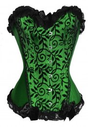 Wholesale Clearance Free Shipping - Wholesale-free shipping Clearance Cheapest Lady Boned Bust Basque Gothic Burlesque Overbust Corset Bustier Green PLUS SIZE S-6XL