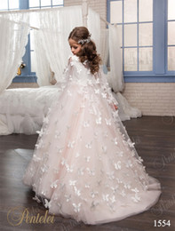 Wholesale Color Butterfly Beads - Kids Wedding Dresses with Butterfly Wraps 2017 Pentelei Hand Made Flowers Tulle Pre-Teens Girls Party Gowns Custom Made