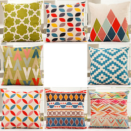 Wholesale Cotton Yarn Patterns - 8 Patterns Throw Pillow Cover Colorful Wave Cushion Covers Cotton Linen Geometric Patterns Decorative Pillow Case Covers Family Gift