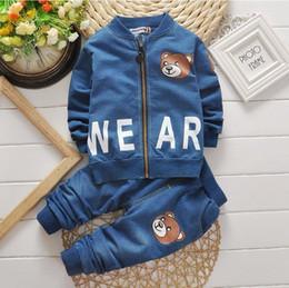 Wholesale Girls Pcs Denim - Baby Girls Boys Clothes Suits Cartoon Letter Denim Coat+Pants 2 Pcs Children Suits Kids Sports Suits Infant Newborn Clothes