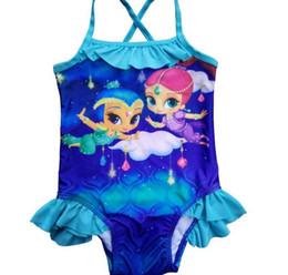 Wholesale Shining Swimwear - Girls Cartoon Shimmer Shine Blue Swimsuit kids children baby One Piece Swimwear Bather Sunbath Bikini swimming Costume