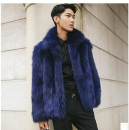 Wholesale blue fox fur collar coat - Wholesale- Male Casual Dark Blue Fox Fur Jackets Large Size Mens Turn Down Collar Winter Autumn Man-Made Fur Coat Outwear Casaco S 5Xl Cj61