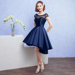 2019 vestire il raso navy scuro Scoop Neck 395 Satin Abito da homecoming con applicazioni di pizzo 2019 Dark Navy Short Party Dress Lace Up Gowns sconti vestire il raso navy scuro