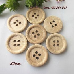 Wholesale Clothing Patterns Sewing - 60 pcs 20mm ( 32L ) 4 holes thin edge natural wood pattern sewing wood buttons natural wood craft decorative accessories
