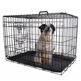 Wholesale Pet Cages - 36'' 2 Doors Wire Folding Pet Crate Dog Cat Cage Suitcase Kennel Playpen Tray