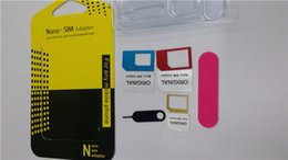 telefones clonados por atacado Desconto 5 em 1 nano sim adaptadores de cartão regular micro sim padrão ferramentas de cartão sim com colorido para iphone 5s se 6 6 s plus