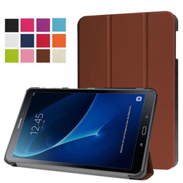 Wholesale Galaxy Note Tab - Ultra Slim PU Leather Cover Case for Samsung Galaxy Tab A 10.1 T585 T580 SM-T580 T580N Tablet + Screen Protector Protective Film