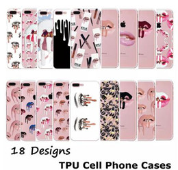 Wholesale Nail Polish Iphone Tpu - Cell Phone Cases For iPhone 6S 7Plus Samsung S6 s7 edge Nail Polish Sexy Lips Kylie Jenner Lip Crystal phone case Transparent Soft TPU Case