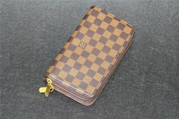 Wholesale Genuine Leather Checkbook Wallet - New Famous Designer Luxury Brand Original Genuine Cow Leather Wallets Men Women Long Purses money Bags Double Zipper Pouch Coin Pockets