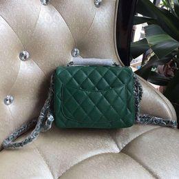 Wholesale Metallic Gold Bags - Free shipping 2016 green mini original caviar calfskin cross-body bags brand female single flap shoulder bag chain bag black red beige 17cm