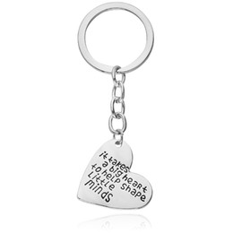 "Wholesale Metal Star Shapes - Parents Jewelry Gifts "" It Takes a Big Heart to Help Shape Little Minds"" Silver Plated Heart shaped sterling silver Dog Tag Key Rings"