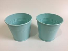 Wholesale mini favor buckets - D9XH8CM D3.5XH3.2inch Mini easter egg pots Tin Succulents Planter Mini Buckets for Party Favor Light Blue SF-060