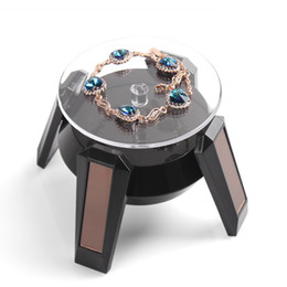 Wholesale Wholesale Rotating Earrings Necklaces - Solar Powered Rotating Display Stand Turn Table Turntable Platform For Jewellery Wristwatches Cell phones Camera Black   White