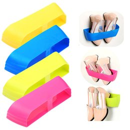 Wholesale Furniture Stands - Creative Adhesive Shoe Rack Plastic Shoe Shelf Stand Wall Hanging Shoes Storage Organizer Hanger 3M Stickers