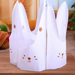 Wholesale Plastic Bags For Party - 100PCS Cute Little Rabbit Plastic Candy Bags For Birthday Party Wedding Favors Decoration Candy Bag Party Bags