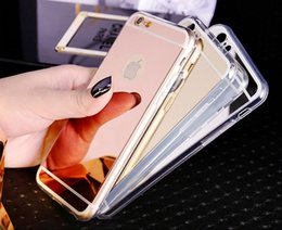 Wholesale Gold Edge Chrome - Luxury Clear Mirror Electroplating Chrome Soft TPU Case For iPhone 5 5S 6 6S Plus Samsung Galaxy S6 S7 Edge Note5 Grand Prime G530