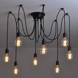 nets bulbs Promo Codes - E27 Vintage Edison Bulbs Net Spider Pendant Light Lamp Fashion Multiple Ajustable DIY Cafe Bar Ceiling Spider Lamp Chandeliers Lighting