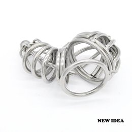 Wholesale Male Chastity Device Short Tube - Stainless steel Male chastity devices Short Cage Urethral Tube Ball Cage New Gay Fetish A071