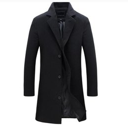 Wholesale Korean Style Trench Coat - Wholesale-2017 Winter Man Wool Blends Overcoat Men's Wear Korean Self-cultivation Long Windbreaker Worsted Male coat style men trench Hot