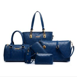 Wholesale Women Bags Yellow - Lash bag 6pcs set 2017 new fashion women bag handbag shoulder big bag hand woven Polyester Clutch Bags