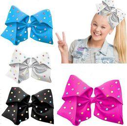 Wholesale Colour Clip - HOT SALE 8inch JOJO hair bow MULTI COLOUR RHINESTONE SIGNATURE BOW HAIR CLIP FOR TEEN GIRLS Hair accessories DROP SHIPPING 10PCS