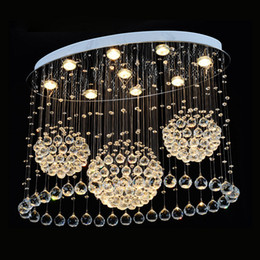 Wholesale Lamp Modern Cottage - Luxury Rain Drop Crystal Lights Modern Ball Crystal Chandelier Light Fixture LED Crystal Ceiling Lamp home