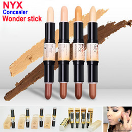 Wholesale Double Ended - Double-ended Contour NYX Wonder Stick Foundation Hide Blemish Dark Circle Cream Concealer Pen Base Liquid Contouring Camouflage Cosmetics