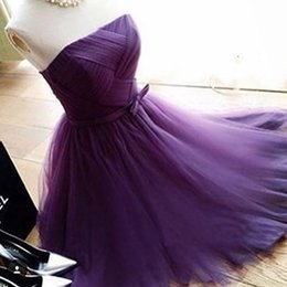 Wholesale Strapless Tea Tulle Dresses - 2016 Gorgeous Short Homecoming Dresses A Line Strapless Criss Cross Ruched Tulle Purple Formal Graduation Dressed Bow Sash Lovely Cheap