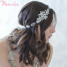 Wholesale Wholesale Pageant - Wholesale-BRIDAL WEDDING HAIR BAND silver plated floral simulated pearl Ribbon tiara Headband Women Party Pageant Crowns hairpiece RE199