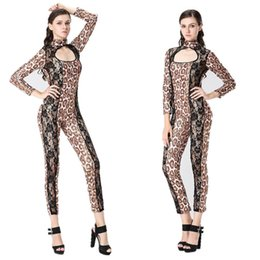 Wholesale Sexy Lingerie Costume Cat - Women's Lingerie Clubs appeal leopard cat lady conjoined with DS pole dancing bar stage costumes imitation leather taste uniform