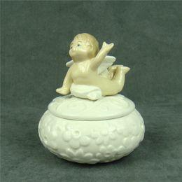 Wholesale Room Box Miniature - Cute Porcelain Little Angel Miniature Jewellery Box Decorative Ceramics Relief Jewelry Organizer Casket Ornament Craft Utensil Accessories