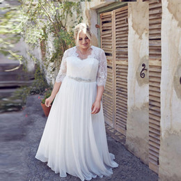 Wholesale Big Size Chart - 2018 Plus Size Wedding Dresses With Sleeves A-line Chiffon And Lace New Arrivals Big Women Bridal Gowns Custom Made Vestidos De Novia