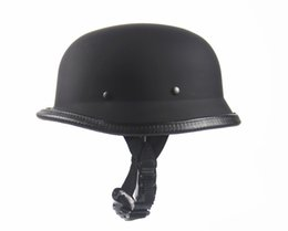 Wholesale Helmet Matte - 2016 New Universal Hot Wholesale Matte Black Helmets German Army Helmet DOT Helmet for Harley Retro Helmets Half Summer Helmet Scooters