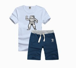 Wholesale Half Mens Suit - 2017 new half sleeve bbc men suit printing style clothing t-shirt hip hop pink streetwear mens set
