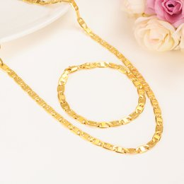 Wholesale Gold Bamboos - New 24K Gold Gold Chain Unisex Men Jewelry Chokers Vintage Bamboo chain women chain necklace bracelet set girls chrms gift