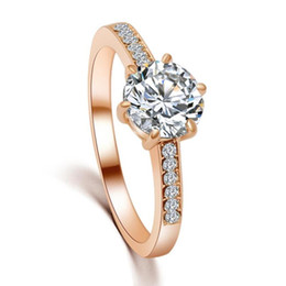 Wholesale Wholesale Valentines Gifts China - 10Pcs lot Wholesale Wedding Bridal Rings Valentines Gift Rose Gold Plated Cubic Zircon Wedding Rings Size 5.25-9 Availabe