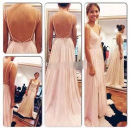 Wholesale Drape Sleeve Maxi Dress - Sexy Backless Maxi Dress Spaghetti Straps V Neck Pink Open Back Prom Dress 2016 Chiffon Evening Dresses long Bridesmaid Dresses