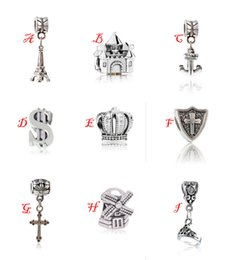 Wholesale Eiffel Tower Pendant Necklace - Silver Charms European Big Hole Loose Beads Eiffel Tower Castle Anchor Crown Cross Pendants Fit Pandora Bracelets Necklaces Bangles Gifts