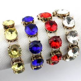 Wholesale Inspired Rings - 2016 Hot Selling 1.5cm Classic Faceted Round Glass Crystal Dot Bracelets for Women Gold Fashion Designer Inspired Brand Jewelry