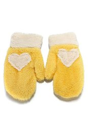 Wholesale Love Heart Mittens - Wholesale- Women's Cute Love Heart Winter Snow Warm Mittens Gloves (Yellow+white)