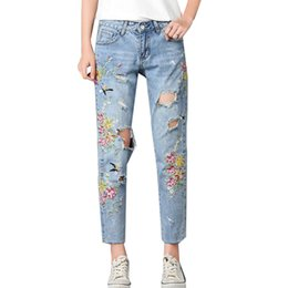 Wholesale Girls Denim Capris - New Arrival Fashion Retro Heavy Process Embroidered Flowers Women Denim Slim Bottoms Holes Jeans Pants for Pretty Girl