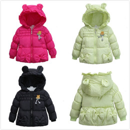 Wholesale Girls Bow Design Coat - Winter Girls Baby Cotton Coats Children Bear Bear Ears Design Bow Hooded Coats Overcoats Kids Cartoon Brushed Padded Warm Coats For 1-4T